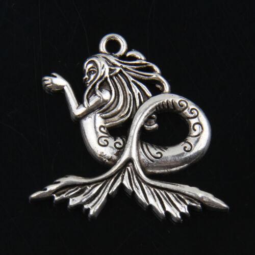 8pcs Tibetan Silver Mermaid Pendants Charms For Jewelry Making
