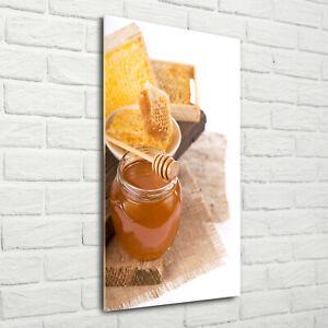 Wandbild-Kunst-Druck-auf-Hart-Glas-hochkant-70x140-Bienenwaben