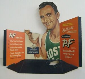 Rare Original 1950's Bob Cousy P.F Flyer Shoes Store Display Easel Back Sign