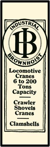 "Industrial Brownhoist Cranes Marquee New Metal Sign 6/"" x 18/"""