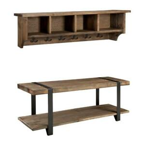 Details About Rustic 48 In Modesto Natural Coat Hook W Cubbie Storage And Entryway Bench Set