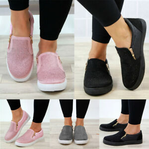 Women-039-s-Casual-Sneakers-Flats-Slip-On-Diamante-Zip-Trainers-Pumps-Shoes-Sizes