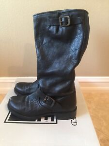 FRYE-VERONICA-SLOUCH-BLACK-LEATHER-WOMENS-BOOTS-SIZE-9-5
