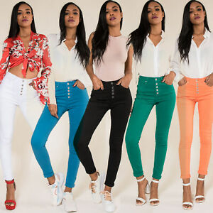 Women-High-Waisted-Jeans-Ladies-Coloured-Stretchy-jeggings-Pants-Size-6-14