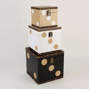 Monte Carlo Set of 3 Storage Boxes - Dice ~ Black Brown & White HM1314