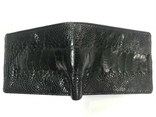 Red Brown Genuine Ostrich Leg Skin Leather Men/'s Bifold Wallet Brown Black