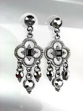 Urban Anthropologie Antique Gun Metal Marcasite Crystals Chandelier Earrings