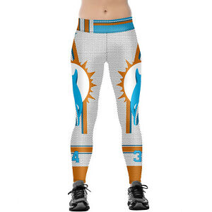 cc0cf190 Details about Women Football Fans Miami Dolphins Skinny Sports Jogging  Pants Fitness Leggings