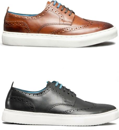 Oswin Hyde STAN Mens Leather Wedged Sole Lace Up Shoes Brogue Low Top Trainers