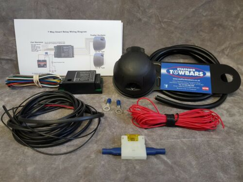 Towbar 7 Pin wiring kit Socket plug TEB7AS wires Bypass Relay fitting kit