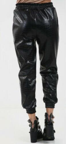 Ladies Faux Leather High Waist Joggers Women Crocodile Bottoms Pants Trousers UK