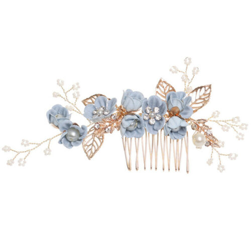 1Pc Flower Gold Leaves Hair Combs Headpiece Wedding Prom Bridal Hair Accessories