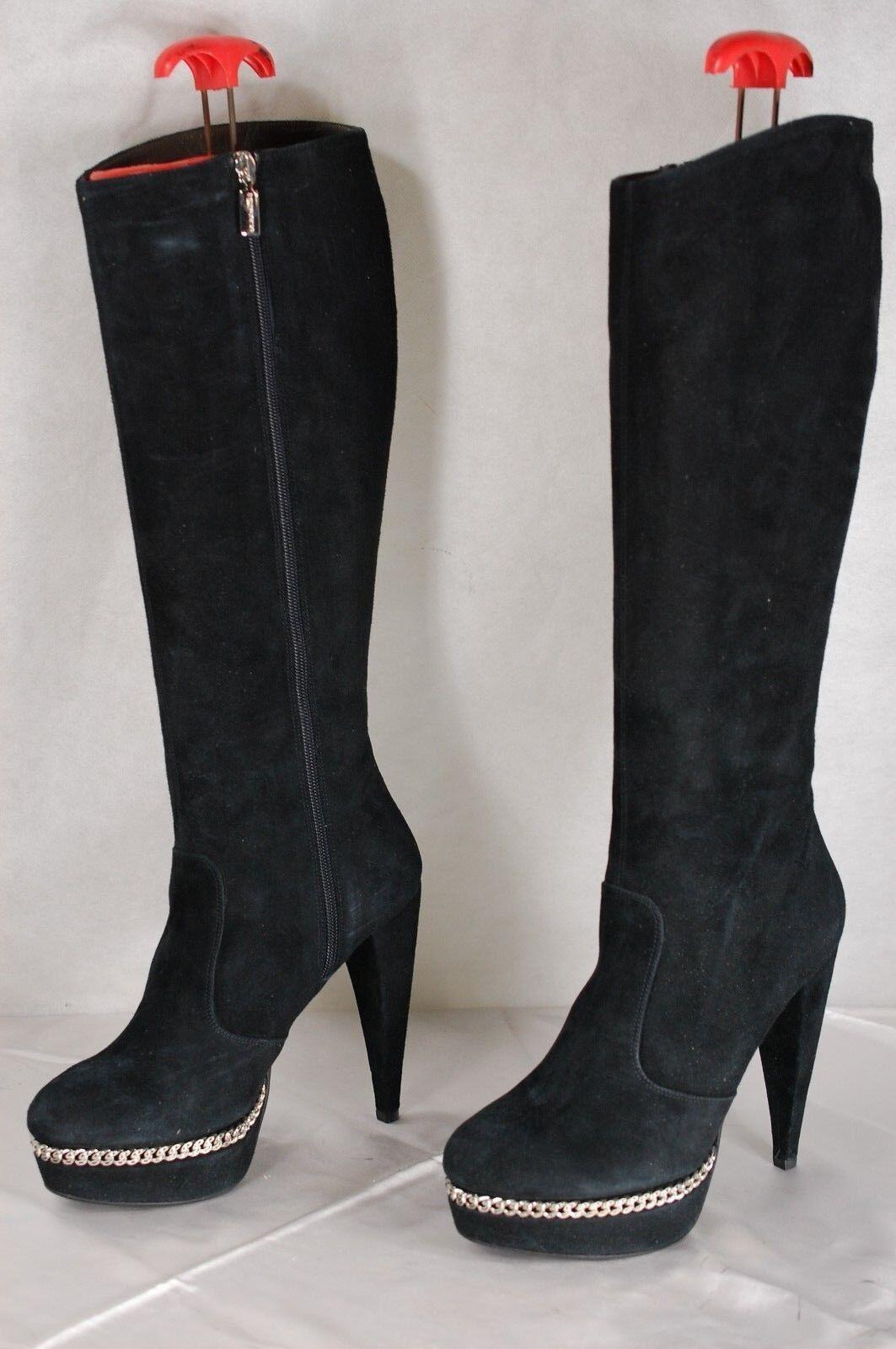 SUPER SEXY BRUNO MAGLI  WOMEN HI HEEL BLACK SUEDE & CHAIN  BOOTS US 10