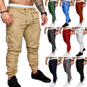 Men-039-s-Slim-Fit-Urban-Straight-Leg-Trousers-Casual-Pencil-Jogger-Cargo-Pants