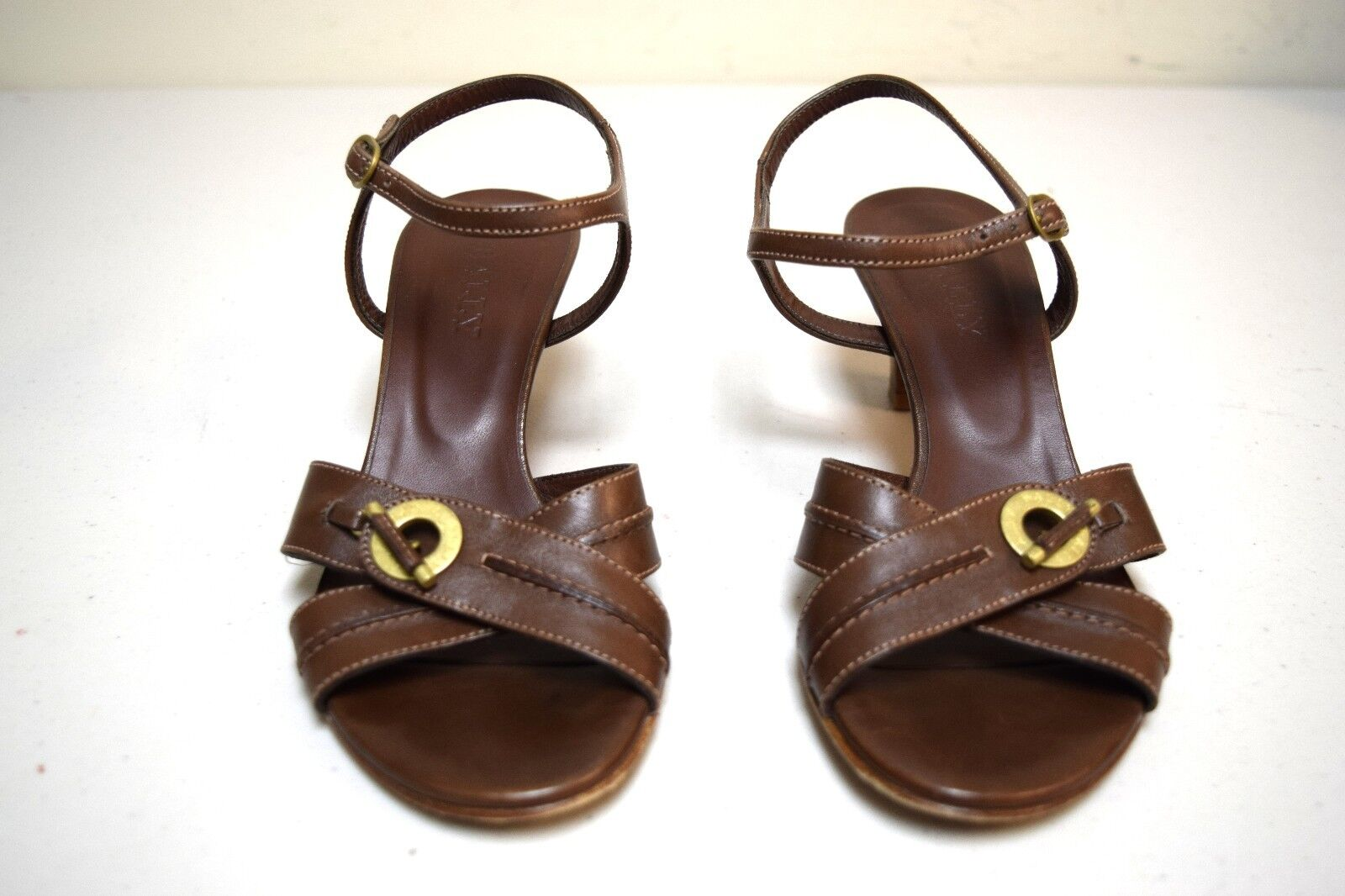BALLY of SWITZERLAND Marronee Cross Ankle Strap Sandals w Leather Leather Leather Locks Dimensione 6 M US a139cf