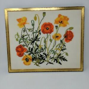 Vintage-Needlepoint-Floral-Wall-Hanging-Framed-Art-Poppy-Wild-Flowers