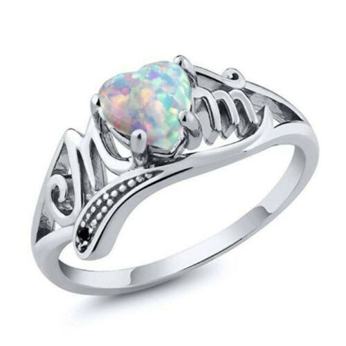 Woman Charming White Fire Opal 925 Silver Mom Ring Bride Wedding Engagement Ring