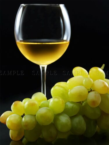 GLASS WINE WHITE BUNCH GRAPES GREEN BLACK FOOD DRINK ART PRINT POSTER BMP598A