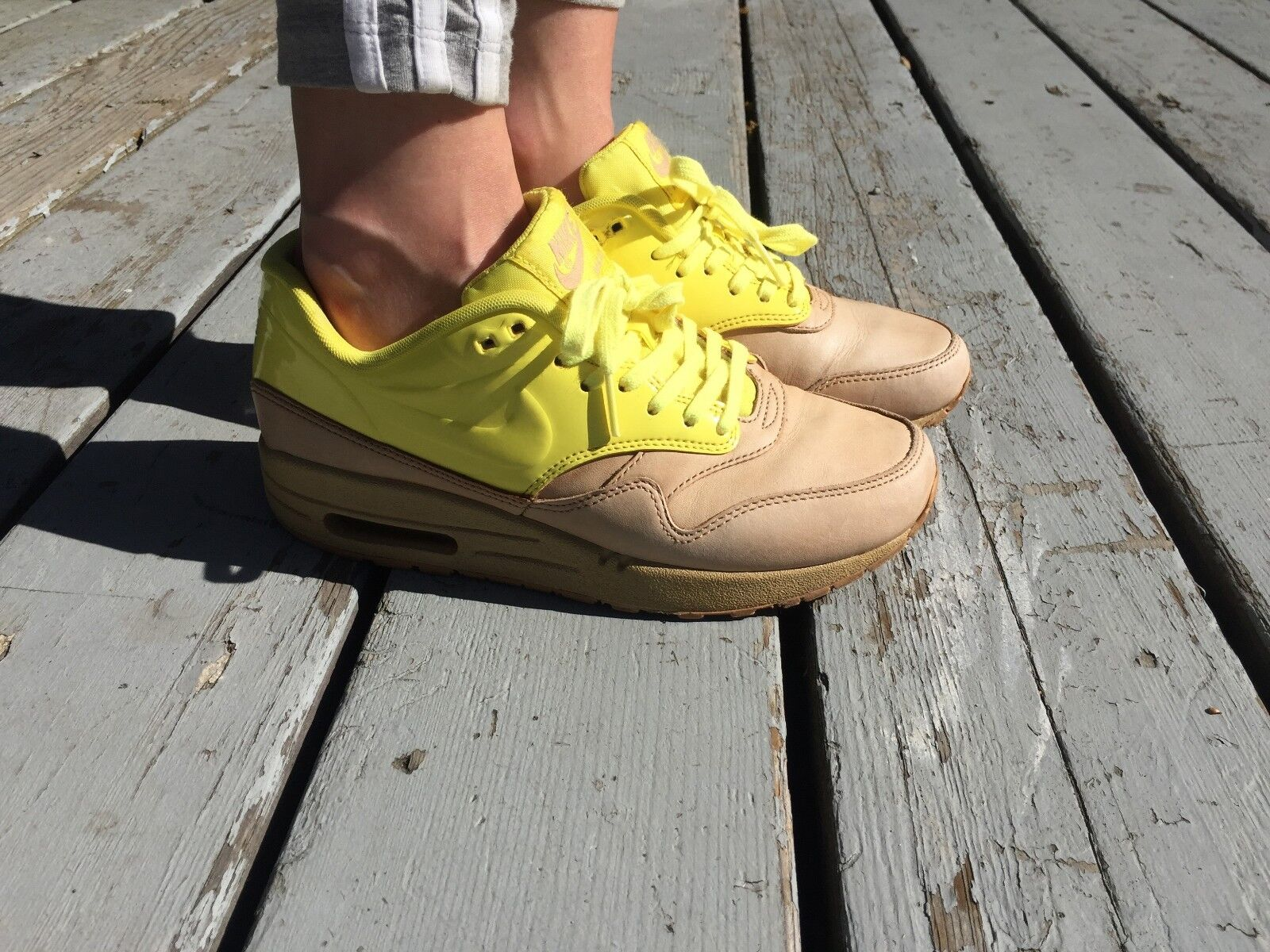 Women's Nike Air Max 1 VT QS Vachetta Tan/Sonic Yellow Athletic Shoes Size 6