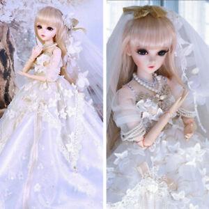 60cm-1-3-BJD-Doll-Puppe-Maedchen-Puppen-Mit-Augen-Make-up-Peruecken-Hochzeitskleid