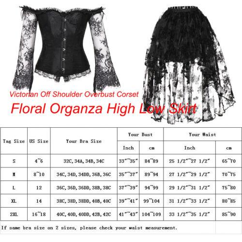 Women Festival Punk Retro Off Shoulder Corset Top High Low Skirt Dance Dress