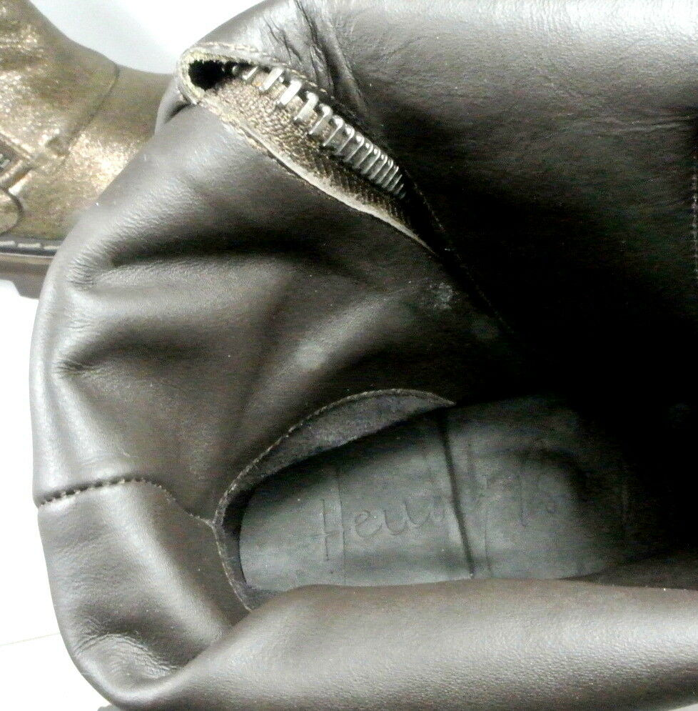 Henry Beguelin Metallic Dusted Leather Moto Moto Moto Combat Boot US 7 ITALY Minimal Wear 1a1067