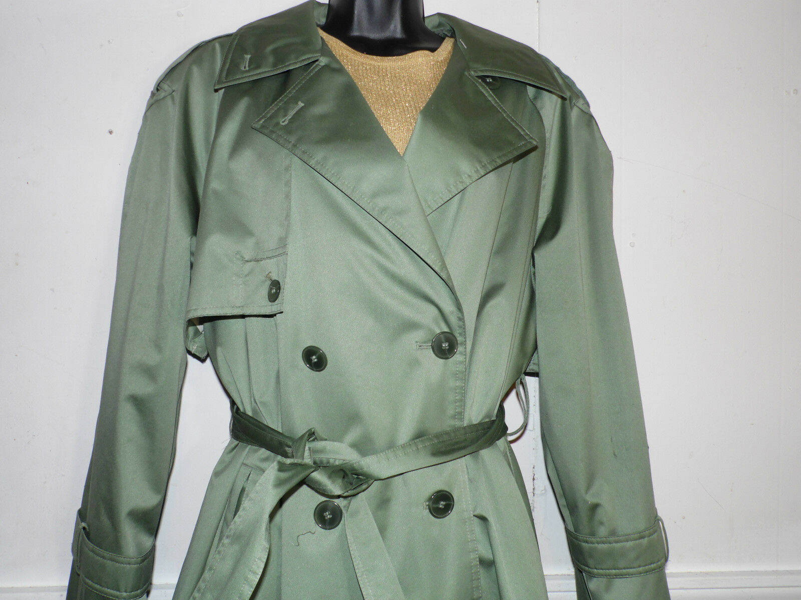 Towne London Fog Trench Coat Green 8 Satin Look Double Breasted