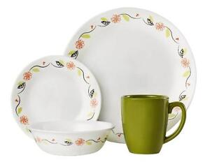 Image is loading Corelle-TANGERINE-GARDEN-16-pc-Dinnerware-Set-ORANGE-  sc 1 st  eBay & Corelle TANGERINE GARDEN 16-pc Dinnerware Set *ORANGE Floral BLACK ...