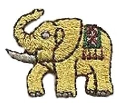 Elephant Gold Iron On Applique Embroidered Patch 118484