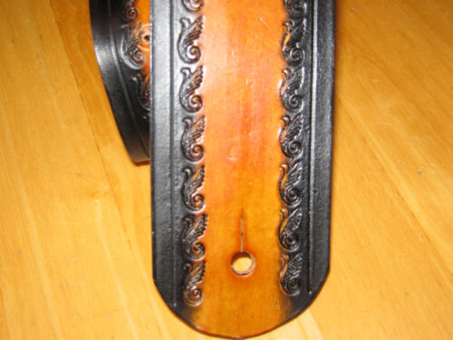 """CUSTOM LEATHER GUITAR STRAP WITH YOUR NAME 2 1//2/"""" WIDE TAN /& BLACK MUSIC NOTES"""