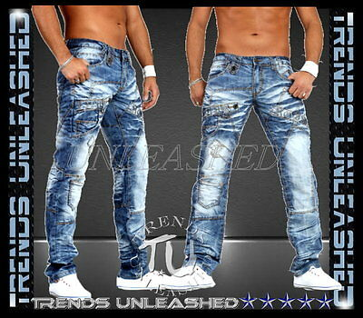 New SIZE 31 32 33 34 35 36 37 38 39 40 Mens Designer Washed Blue Funky Jeans