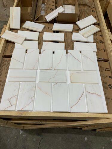 Subways Marble Tiles 70x140mm,Limestone Tile Luxury Polished Marble Snow Pink