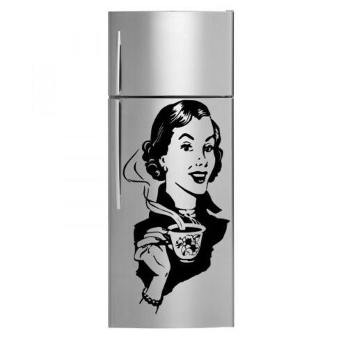 decoración de pared calcomanía 40cm X 80cm Retro Dama Con Café-Nevera Cocina pegatinas