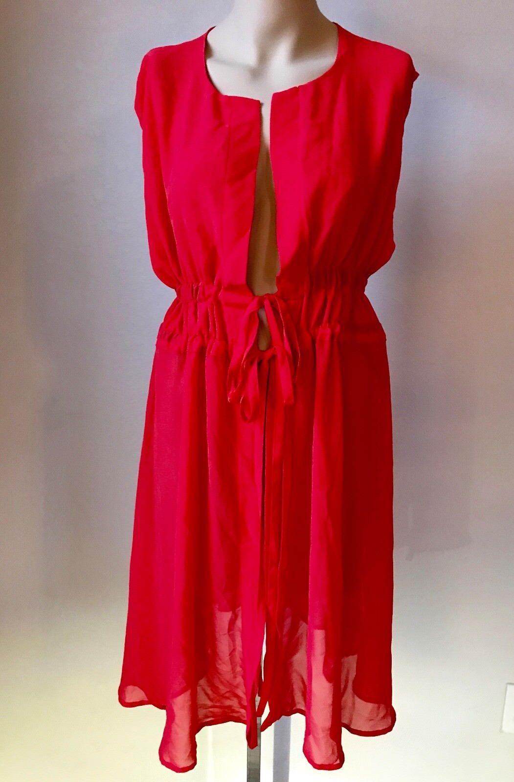 NWT GOTTEX SHEER RED KIMONO COVERUP DRESS S SMALL   SFS