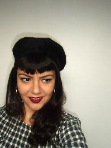 Beret-chapeau-noir-retro-vintage-francais-laine-melangee-28cm