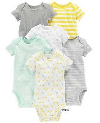 Simple Joys by Carter/'s Baby Neutral 6-Pack Short Sleeve Bodysuits Size NB