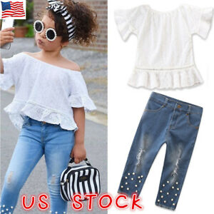1ed8a1ee313 Baby Girl Kid T Shirt Crop Top+Ripped Jeans Denim Pants Summer ...
