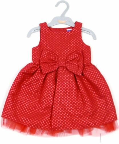 Ex M /& Co Baby Girls Red Bow Spotty Sparkle Christmas Party Dress 9 12 18 24 NEW