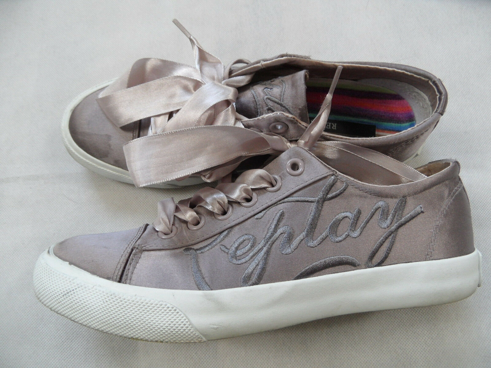 REPLAY schöne Sneakers in Satinopik mit Schleifenband pink Gr. 38 TOP WiM