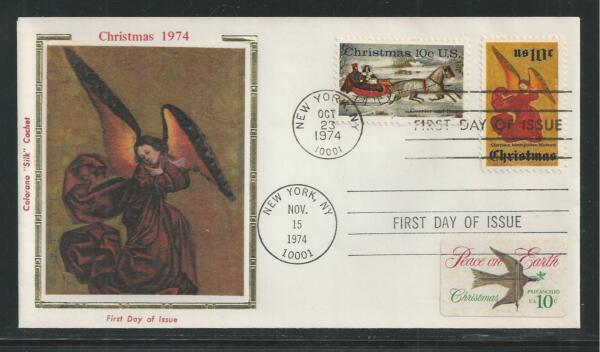 # 1550-1552 CHRISTMAS 1974 Colorano 'Silk' First Day Cover