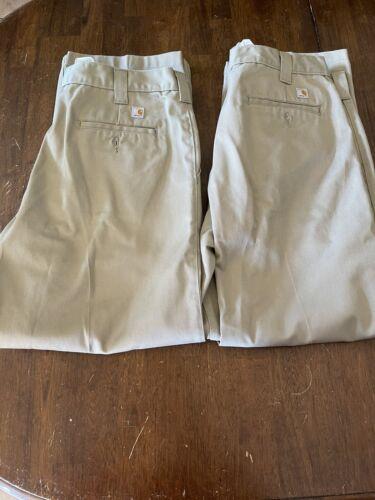 2-Carhartt Khaki Pants Men's Size 38x30 EUC