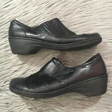 41bea34f9acad Clarks Channing Essa Womens 11M Black Leather Zip Slip On Loafers Work Shoes