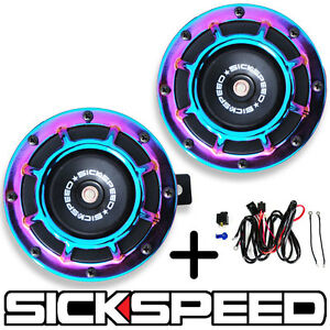 SICKSPEED 2PC TEAL SUPER LOUD GRILLE MOUNT COMPACT BLAST TONE HORN W HARNESS P25