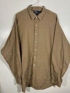 Men-039-s-Ralph-Lauren-Lowell-Polo-Tan-Long-Sleeve-Button-Down-Shirt-XXL-3X-Cotton