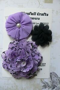 HANDMADE-3-Mixed-Flowers-BLACK-amp-LILAC-Organza-Lace-50-55-100mm-Njoyfull-Crafts