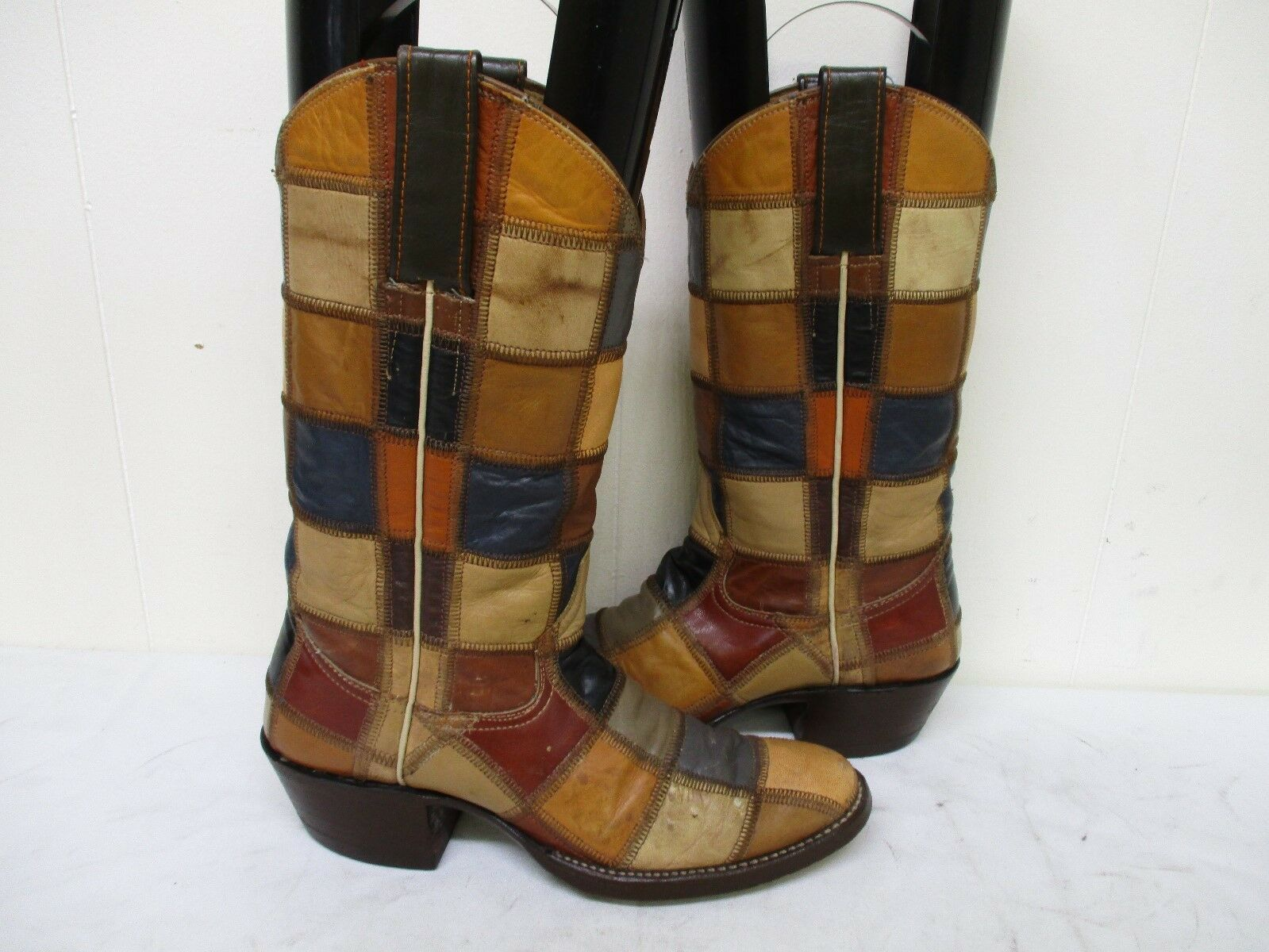 Adams Boot Co Patch Leather Cowboy Boots Womens Size 5.5 C
