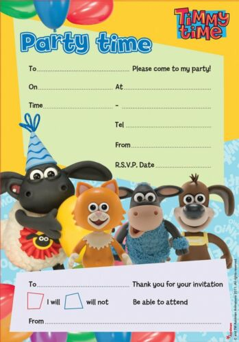 Timmy Time Children/'s Birthday Party Invitations Pack Of 20