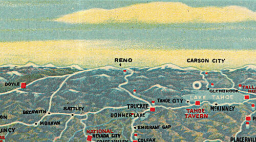 1920 Map Panoramic view Central and Northern California Automobile Routes Poster