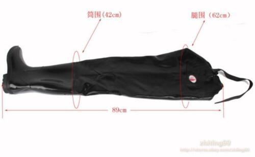 Noir Homme Thigh Haute Bottes de pluie étanche anti-dérapant À Enfiler Bottes Genouillères