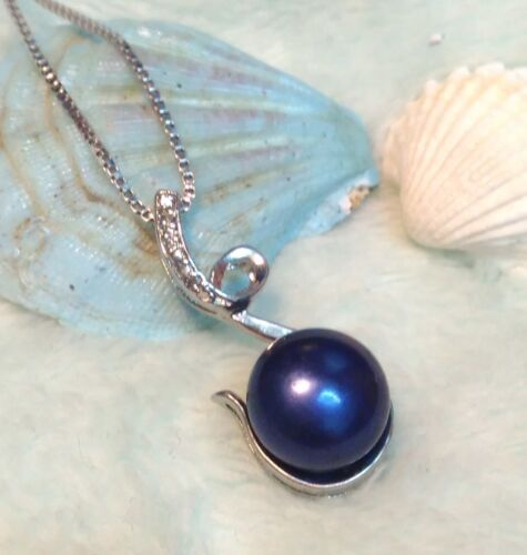 Genuine Freshwater black Pearl Pendant S925 Sterling Silver Necklace lady//Mum